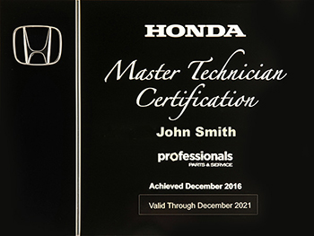 New Professionals Master Technician Plaque